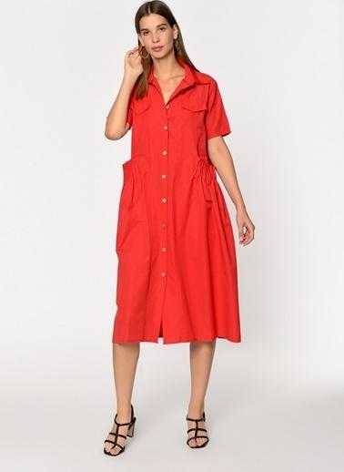 Loves You A Shape Poplin Gömlek Elbise Kırmızı